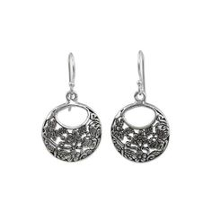 NOVICA Sterling Silver Flower Earrings with Bees and Butterflies ($29) ❤ liked on Polyvore featuring jewelry, earrings, dangle, sterling silver, sterling silver earrings, flower jewellery, sterling silver jewelry, sterling silver flower earrings and flower jewelry