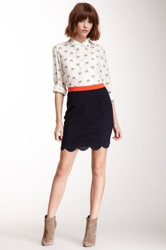 Scallop Hem Front Skirt with contrast waist band (also an easy DIY).