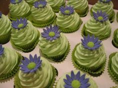 Fun cupcakes for a lime green and purple wedding