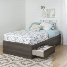 South Shore Savannah Twin Mate's Bed with Drawers