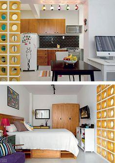 Decoração de kitnet, sala, cozinha e homeoffice numa só peça.