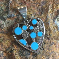 David Rosales Arizona Blue Inlaid Sterling Silver Heart Pendant