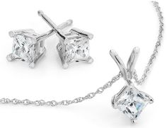 Certified Princess Diamond Solitaire Necklace & Diamond Stud Earrings Set 1.0 Carat (ctw) in 10K White Gold