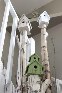 Cute birdhouse decor on branches