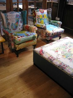 Susie Stanford's vintage tea-towel-upholstered armchairs
