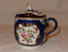 Rare 18th Century English Porcelain WORCESTER Scale Blue Custard Cup & Cover