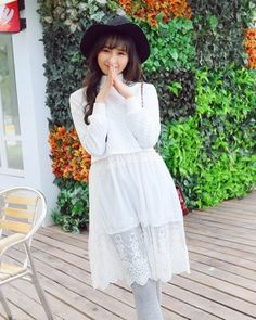 DR001058 Round neck spring white dress Korean style straight long hoodie