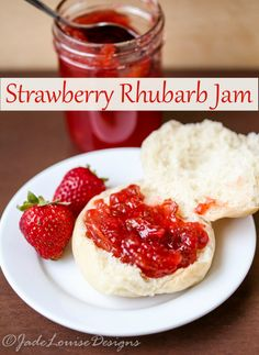 Low Sugar Strawberry Rhubarb Jam Recipe, all the goodness of a strawberry Rhubarb Pie, but in jam form you can enjoy on various dishes all year long.