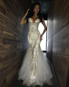Prom Dress Fitted, Luxury Bling Sparkle Prom Dresses Mermaid White Deep V-neck Beaded Crystal Long Tulle Prom Dress Evening Gown There are delicate lace prom dresses with sleeves, dazzling sequin ball gowns, and opulently beaded mermaid dresses. Split Prom Dresses, Tulle Prom Dress, Formal Dresses For Women, Mermaid Prom Dresses, Wedding Dresses, Formal Gowns, Prom Gowns, Dress Formal, Pageant Dresses