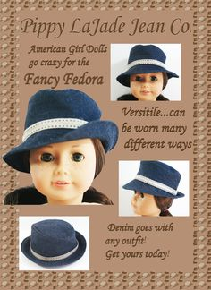 American Girl Doll Clothes Fancy Fedora by PippyLaJadeJeanCo, $10.00