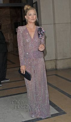 Kate Hudson shimmers in a sheer-looking, embellished jumpsuit at Armani Prive's show in Paris!