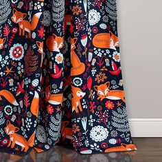 Add a whimsical look to any room with this Navy Pixie Fox Curtain Panel Set! Its frolicking fox character will leap off the curtains and into your heart. Room Darkening Curtains, Drapes Curtains, Shower Curtains, Drapery, Animal Print Rooms, Pixie, Lush, Curtain Sets, Curtain Panels