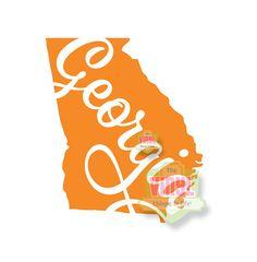 Georgia decal, Georgia state sticker, State of Georgia, GA pride, Laptop decal, Car decal, Georgia peach decal, GA sticker, State decals