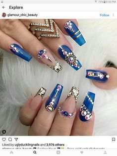 """If you're unfamiliar with nail trends and you hear the words """"coffin nails,"""" what comes to mind? It's not nails with coffins drawn on them. It's long nails with a square tip, and the look has. Acrylic Nails Natural, Best Acrylic Nails, Acrylic Nail Designs, Nail Art Designs, Acrylic Art, Natural Nails, Gold Designs, Creative Nail Designs, Nails Design"""