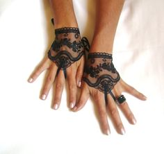 Black tulle lace gloves embroidery bridal  wedding fingerless burlesque body tattoo romantic bridesmaid glove on Etsy, $25.00