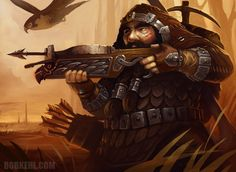 Male dwarf brown-hair light-skin brown-eyes ranger fighter rogue paladin crossbow hawk no-mount hooded