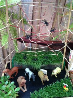 """The Very Busy Spider by Eric Carl:"""" This book is a favourite of the children at the moment. This activity came about after Master C used spiders in play dough and it just flowed on to building a web and then reading the book."""" Puzzles Family Day Care ≈≈ http://www.pinterest.com/kinderooacademy/provocations-inspiring-classrooms/"""