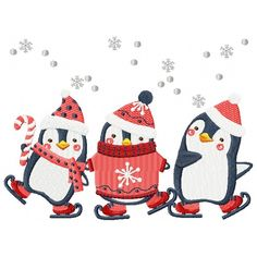 This Christmas Penguins machine embroidery design looks amazing on any project. Noel Christmas, Christmas Animals, Christmas Crafts, Hand Embroidery Stitches, Machine Embroidery Designs, Embroidery Patterns, Illustration Noel, Christmas Illustration, Penguin Art