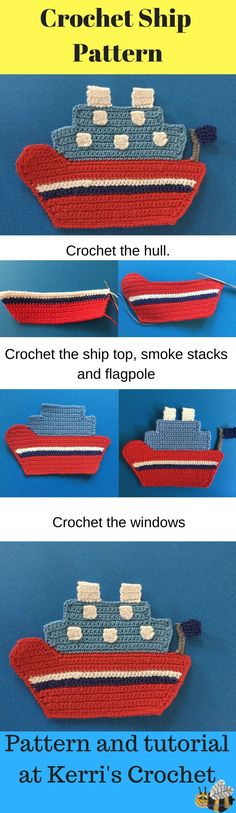 Learn how to crochet this ship at Kerri's Crochet.