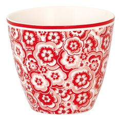 GreenGate Stoneware Latte Cup Selma Red H 9 cm | NEW! Autumn/Winter 2014 | Originated-Webshop