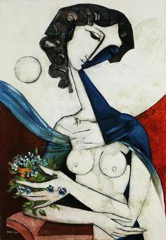 Woman with flowers'. 2006 -  Bruno Landi(b. 1941)