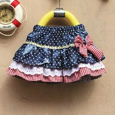 Denim Skirts Ruffled Polka Dots with Bow Little Girl Dresses, Girls Dresses, Cabbage Patch Kids Clothes, Toddler Skirt, Baby Dress Design, Skirts For Kids, Frocks For Girls, Cute Skirts, Denim Skirts