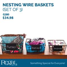 """SET OF 3 NESTING WIRE BASKETS from Regal Gifts Sturdy metal wire baskets are ideal to organize clutter. Use in the front hall, closet, bedroom, bathroom, laundry room or anywhere to tidy up. Chalkboard plate on fronts to label contents. Small - 9""""Square x 4""""H, Medium -10-1/2""""Square x 4-1/2""""H Large -11-1/2""""Square x 5-1/2""""H Product Number: G280 http://www.Regal.ca"""
