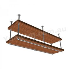 Industrial DIY 2 Tiers Ceiling Hung Pipe Shelf Brackets BS034B