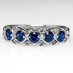 Blue Sapphire Wedding Band Ring w/ Diamonds in Platinum