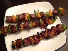 Marinated Filet Mignon with Grilled Peppers  Filet Mignon is the leanest of the allowed beefs and always a favorite.