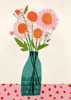 garden illustration Flowers Illustration Pattern L - Art And Illustration, Flower Illustration Pattern, Illustrations Poster, Illustration Inspiration, Floral Illustrations, Art Floral, Retro Floral, Floral Design, Flower Art