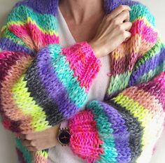 Colored striped Alpaca-mohair cardigan handmade M Y P Z Mohair Cardigan, Mohair Yarn, Free Knitting, Knitting Patterns, Big Knit Blanket, Jumbo Yarn, Alpaca, Big Knits, Black And Grey Tattoos