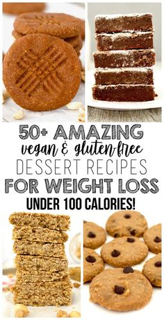 AMAZING Vegan Desserts For Weight Loss (Low-Calorie + Gluten-Free) Here is a DELICIOUS collection of AMAZING Vegan Desserts for Weight Loss! All recipes are gluten-free, dairy-free & low-calorie – under 100 calories each! These recipes will make su Desserts Végétaliens, Low Calorie Desserts, No Calorie Foods, Low Calorie Recipes, Gluten Free Desserts, Low Calorie Vegan, Low Calorie Snacks Sweet, Low Calorie Cookies, Low Calorie Baking