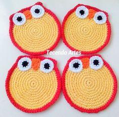 Tecendo Artes em Crochet: Porta Copos Corujitas e Presentinho da Circulo!