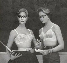 Examples of vintage circular-stitched and three-section full cup bras.