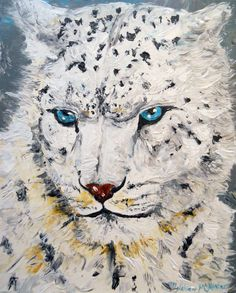 Items similar to Original Acrylic on Stretched Canvas Snow Leopard Painting on Etsy Knife Painting, Snow Leopard, Etsy Store, The Originals, Artwork, Stretched Canvas, Paint Ideas, Watercolors, Animals