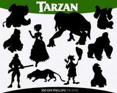 SPRING SALE Tarzan Instant Download silhouette Clipart digital png/jpg files PK-0061