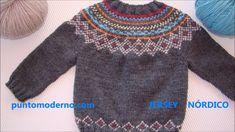 JERSEY de BEBÉ NÓRDICO, BABY CARDIGAN- ESPAÑOL-ENGLISH PATTERN Knit Baby Sweaters, Boys Sweaters, Sweaters For Women, Crochet Hook Set, Crochet Coat, Baby Boy Knitting, Knitting For Kids, Stitch Witchery, Icelandic Sweaters