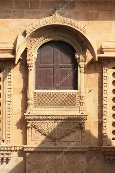 """Buy the royalty-free Stock image """"stone carving at jaisalmer fort rajasthan india, facade wall"""" online ✓ All image rights included ✓ High resolution pic. Mughal Architecture, Facade Architecture, Temple India, Jain Temple, India Painting, Classic House Design, India Images, Jaisalmer, Diy Barn Door"""