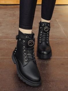 Available Sizes : Heel Height : Platform Height : Heel Height : Flat Boot Shaft : Ankle Color : Black Toe : Round Shoe Vamp : PU Leather Closure : Lace-up Timberland Boots, Ugg Boots, Ankle Boots, Shoe Vamp, Black Toe, Mens Fashion Shoes, Emo Fashion, Flat Boots, Designer Boots