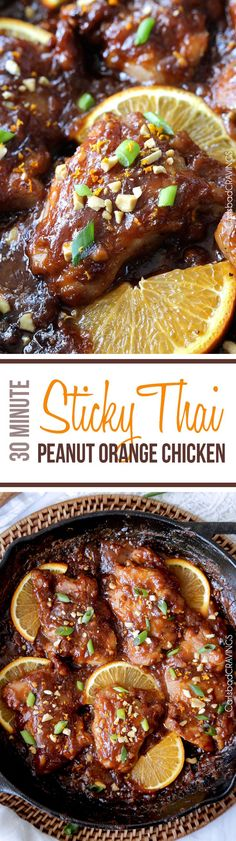 One pan, 30 minute easy Sticky Thai Peanut Orange Chicken baked in one of my favorite rich, nutty, sweet, savory orange sauces ever. I am so in love with the flavors and ease of this dish! #30minutemeals
