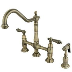 Kingston Brass KS179.AXBS   Kingston Brass KS1791AXBS Polished Chrome  Heritage Widespread Kitchen Faucet With Metal Cross Handles And Brass Side  Spu2026 ...