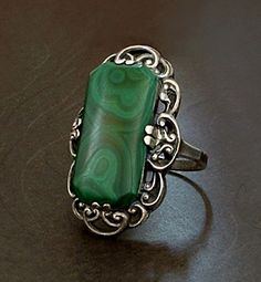 ART DECO Ring STERLING Silver Filigree Malachite GEMSTONE Scroll Design c.1930's #VintageSterlingJewelry
