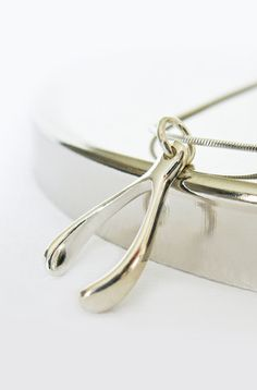 Sterling Silver Wishbone Necklace by PureJoyDetails on Etsy