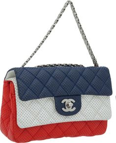 §Chanel Rare Red, White, & Blue 20cm Perforated Mademoiselle  Chain Strap Double Flap Bag