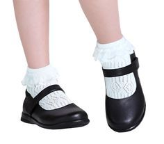 5 Pairs School Girls Seam Free White Cotton Socks With Lace Pointelle Pelerine Frilly Socks, Cotton Socks, Girls Flats, Girls Socks, Black Mary Jane Shoes, Black Shoes, Aesthetic Shoes, Doll Shoes, Little Girl Fashion
