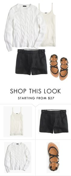 """""""Cotton cable sweater Linen Garden Shorts Black White"""" by justvisiting ❤ liked on Polyvore featuring J.Crew"""