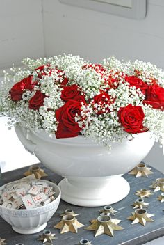 beautiful. Red roses and babies breath
