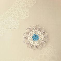 #tatting #frivolite #タティング  #tattinglace  #태팅레이스 #анкарс #motif #doily #blue #white #gray #circle