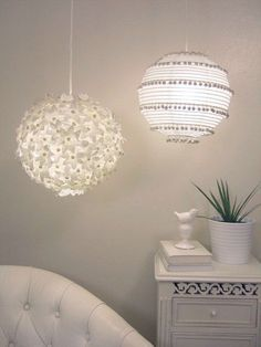 Love lanterns in a nursery